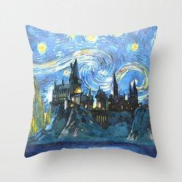 Starry Night(Hogwarts Castle) Throw Pillow