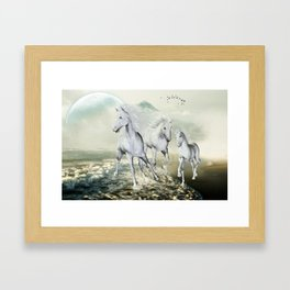 White Horses On The Beach Framed Art Print
