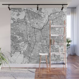 Santiago White Map Wall Mural