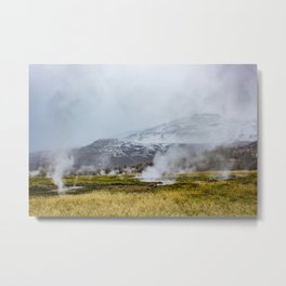 Steam Rising from the Strokkur Geysir Field in Iceland with Mountains in the Background Metal Print