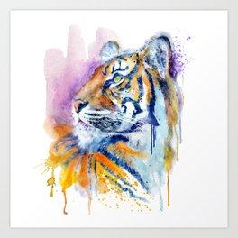 Young Tiger Watercolor Portrait Art Print