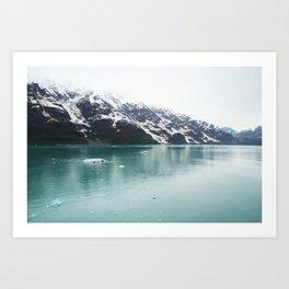 Hubbard Glacier Snowy Mountains Alaska Wilderness Art Print