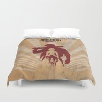 bioshock infinite Duvet Covers featuring Bioshock Infinite - Booker and Elizabeth by Art of Peach