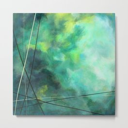 Crossed Green - Abstract Art Metal Print