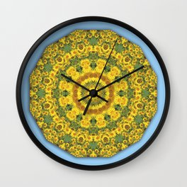 Sunflowers 001, Floral mandala-style, Nature Flower Mandala, blue Wall Clock