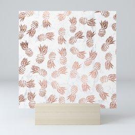 Modern faux rose gold pineapples white marble pattern Mini Art Print