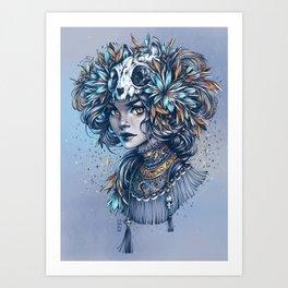 Night Cat Witch Art Print