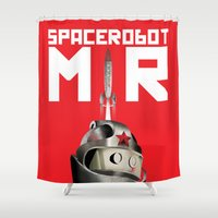 soviet Shower Curtains featuring Retro Soviet minimalism space robot by Cardula