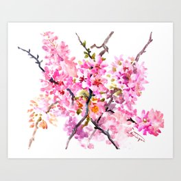 Cherry Blossom pink floral texture spring colors Art Print
