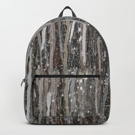 Rainy Days // Black White Gray Drippy Water Abstract Painting Rain Cloud Dripping Contemporary Art Backpack