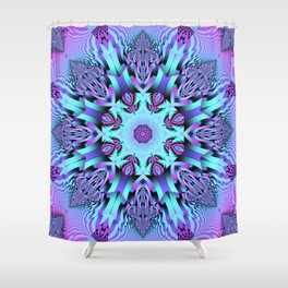 Kaleidoscope Patterns in purple, pink and mint Shower Curtain