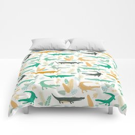 crocodiles and leaves Comforters