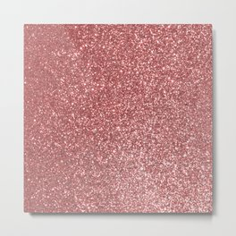 Blush Gold Rose Pink Shimmery Glitter Metal Print