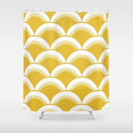 Japanese Fan Pattern Mustard Yellow Shower Curtain