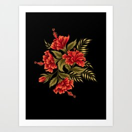 Hibiscus Floral - Red / Black Art Print