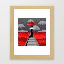 Japanese in red field Framed Art Print