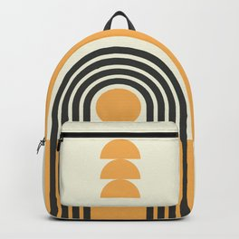 Geometric Lines in Gold and Black (Rainbow and Sunrise Abstract) Backpack