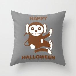 Dead Monkey Happy Halloween Throw Pillow