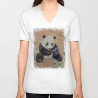 cigarette V-neck T-shirts featuring Cigarette Break by Michael Creese