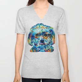 Colorful Dog Art - Lhasa Love - By Sharon Cummings Unisex V-Neck