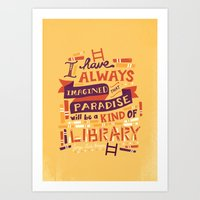 library Art Prints featuring Library by Risa Rodil