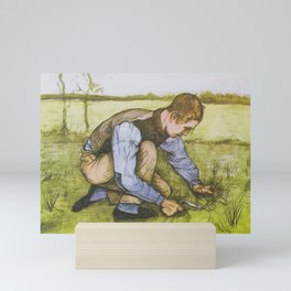 "Vincent van Gogh - Boy cutting grass with a sickle ""Jongen met sikkel"" (1881) Mini Art Print"