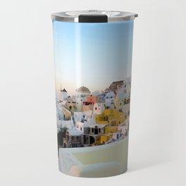 Wide Shot of Santorini at Sunset Travel Mug