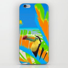Colorful Toucans Tropical Banana Leaves Pattern iPhone Skin