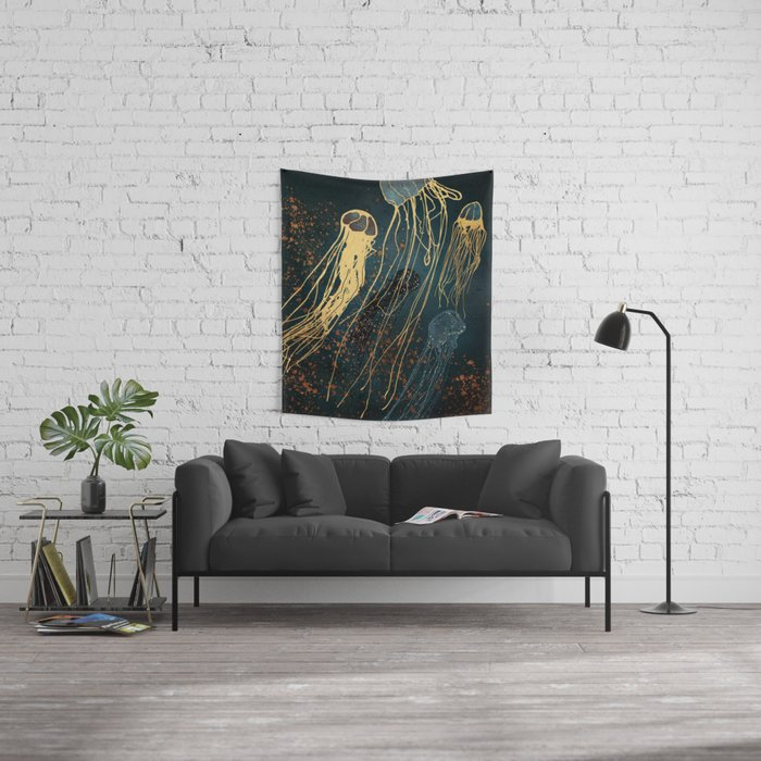 Metallic Jellyfish Wall Tapestry