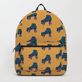 Orange roller skates, 80s zebra print retro skates  Backpack
