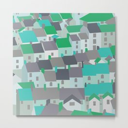 Rooftops in Turquoise & Green Metal Print