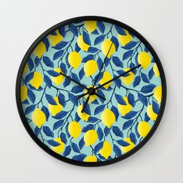 Lemon Tree Bliss in Blue Wall Clock