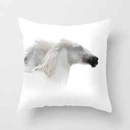 Double Exposure horses Throw Pillow