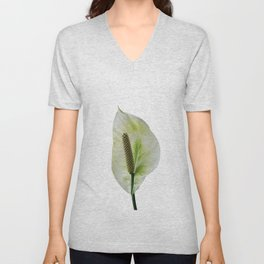 Peace Lily on White #1 #floral #decor #art #society6 Unisex V-Neck