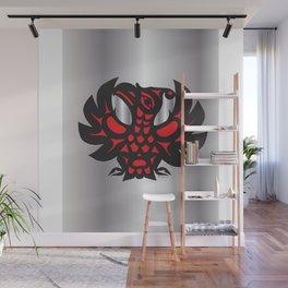 Heiltsuk Thunderbird Black & Red on Silver          Wall Mural