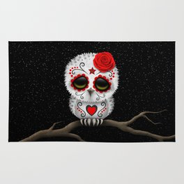 Adorable Red Day of the Dead Sugar Skull Owl Rug