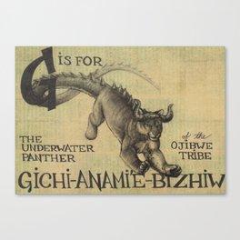 Alphabestiary G - Gichi-Anami'e-Bizhiw Canvas Print