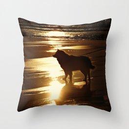 Beach Dog Silhouette  Throw Pillow