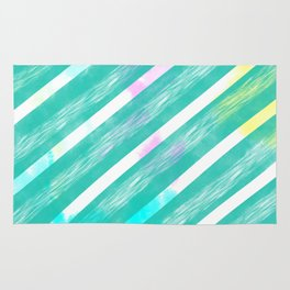Ribbon Party - Teal and White Stripe Palette Rug