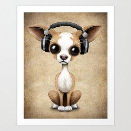 Cute Chihuahua Puppy Dog Wearing Headphones Art Print