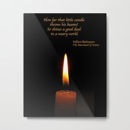 Shakespeare Candle Flame Metal Print