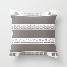 Bohemian grey&white monochromatic neutral pattern Throw Pillow