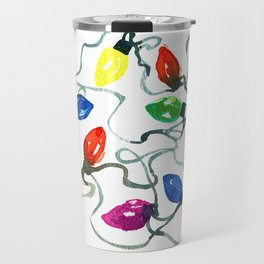 Watercolor Tangled Holiday Lights by Artume Travel Mug