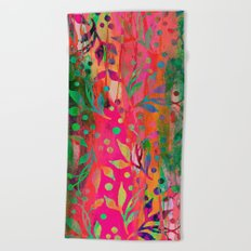 Tropical Summer colorful botanical pattern Beach Towel