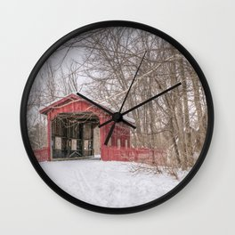 Vermont Red Covered Bridge in Snow Wall Clock