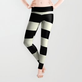 Preppy mid century modern minimalist Paris Chic Black And White Stripes Leggings