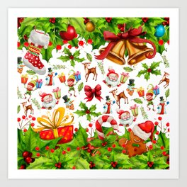 Holiday festive red green holly Christmas pattern Art Print