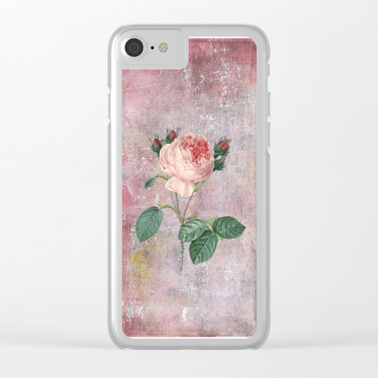 Vintage Rose - on pink grunge backround Clear iPhone Case
