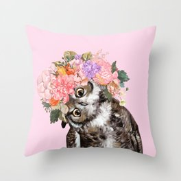 Owl with Flowers Crown in Pink Throw Pillow