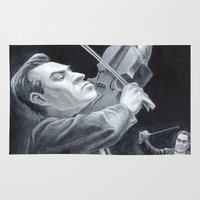 soviet Area & Throw Rugs featuring A Soviet Violinist by Mark Schaeffer Studios